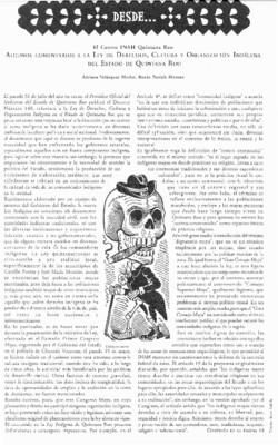 Algunos comentarios a la Ley de Derechos, Cultura y Organización Indígenas del Estado de Quintana Roo