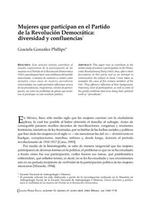 Mujeres que participan en el Partido de la Revolución Democrática: diversidad y confluencias