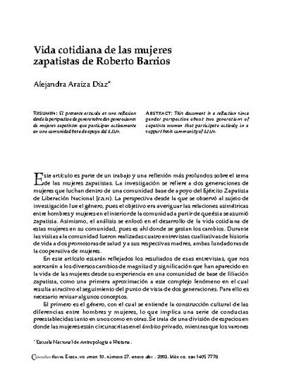 Vida cotidiana de las mujeres zapatistas de Roberto Barrios