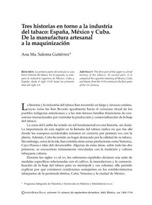 Tres historias en torno a la industria del tabaco: España, México y Cuba. De la manufactura artesanal a la maquinización