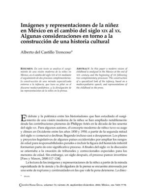 Imágenes y representaciones de la niñez en México en el cambio del siglo XIX al XX. Algunas consideraciones en torno a la construcción de una historia cultural