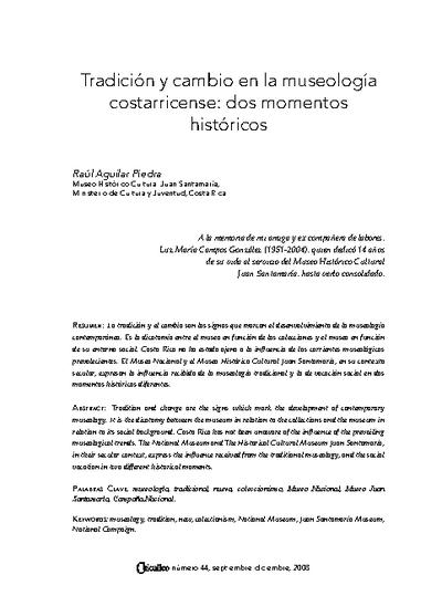 Tradición y cambio en la museología costarricense: dos momentos históricos