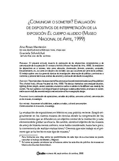 ¿Comunicar o someter? Evaluación de dispositivos de interpretación de la exposición El cuerpo aludido (Museo Nacional de Arte, 1999)