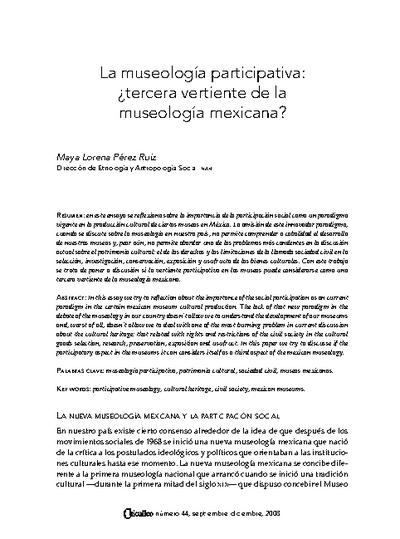 La museología participativa: ¿tercera vertiente de la museología mexicana?