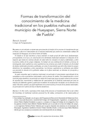 Formas de transformación del conocimiento de la medicina tradicional en los pueblos nahuas del municipio de Hueyapan, Sierra Norte de Puebla