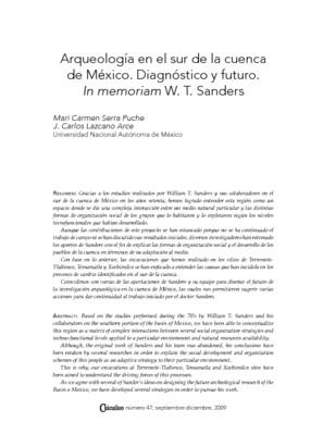 Arqueología en el sur de la cuenca de México. Diagnóstico y futuro. In memoriam W. T. Sanders
