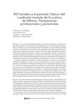 Bill Sanders y el periodo Clásico del cuadrante noreste de la cuenca de México. Perspectivas profesionales y personales