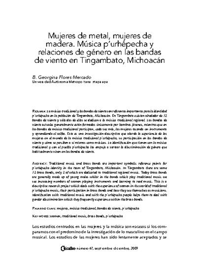 Mujeres de metal, mujeres de madera. Música p'urhépecha y relaciones de género en las bandas de viento en Tingambato, Michoacán