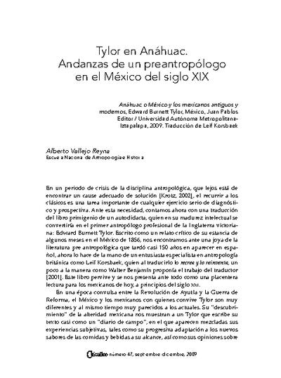 Tylor en Anáhuac. Andanzas de un preantropólogo en el México del siglo XIX