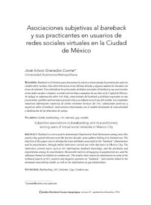 Asociaciones subjetivas al bareback y sus practicantes en usuarios de redes sociales virtuales en la Ciudad de México