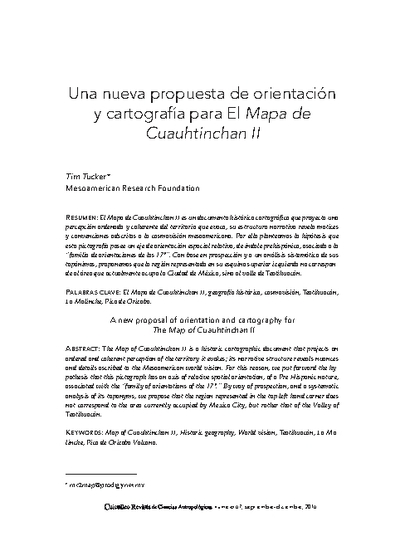 Una nueva propuesta de orientación y cartografía para el Mapa de Cuauhtinchan II