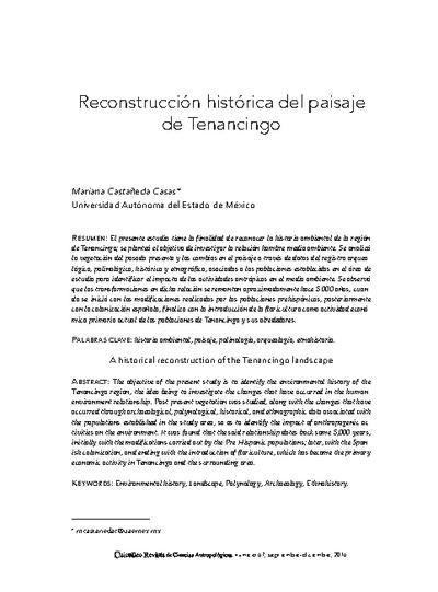 Reconstrucción histórica del paisaje de Tenancingo