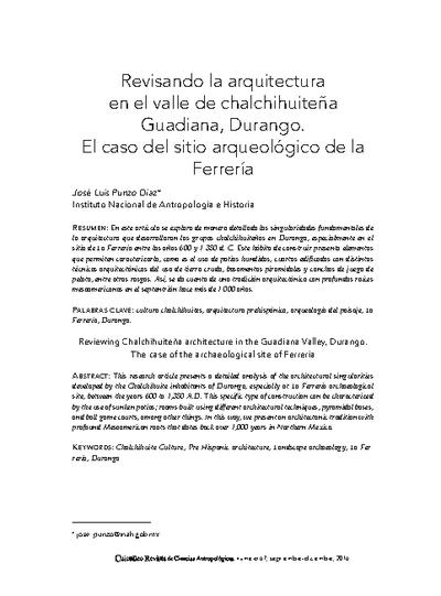 Revisando la arquitectura chalchihuiteña en el valle de Guadiana, Durango. El caso del sitio arqueológico de la Ferrería