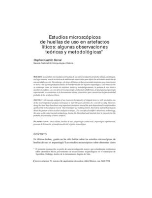 Estudios microscópicos de huellas de uso en artefactos líticos: algunas observaciones teóricas y metodológicas