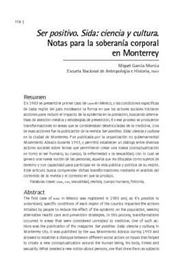 Ser positivo. Sida: ciencia y cultura. Notas para la soberanía corporal en Monterrey