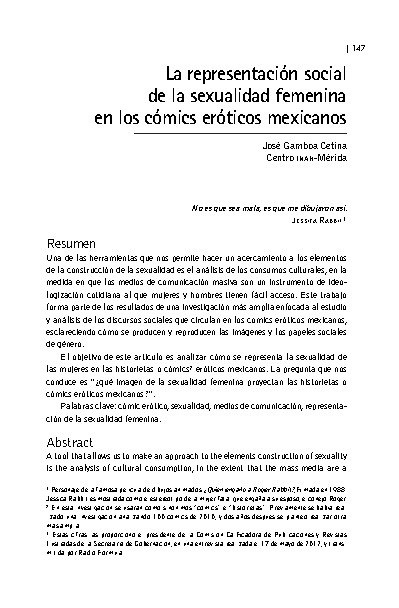 La representación social de la sexualidad femenina en los cómics eróticos mexicanos