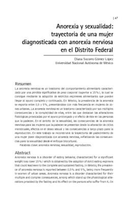 Anorexia y sexualidad: trayectoria de una mujer diagnosticada con anorexia nerviosa en el Distrito Federal