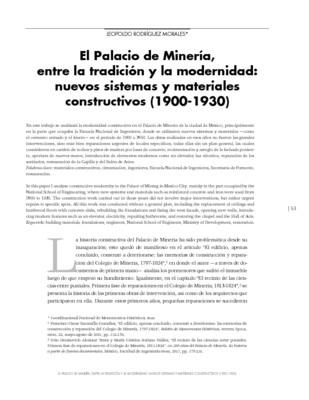 El Palacio de Minería, entre la tradición y la modernidad: nuevos sistemas y materiales constructivos (1900-1930)