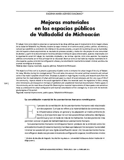 Mejoras materiales en los espacios públicos de Valladolid de Michoacán