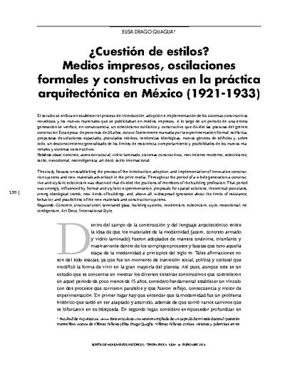 ¿Cuestión de estilos? Medios impresos, oscilaciones formales y constructivas en la práctica arquitectónica en México (1921-1933)