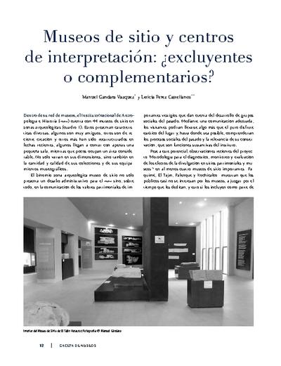 Museos de sitio y centros de interpretación: ¿excluyentes o complementarios?