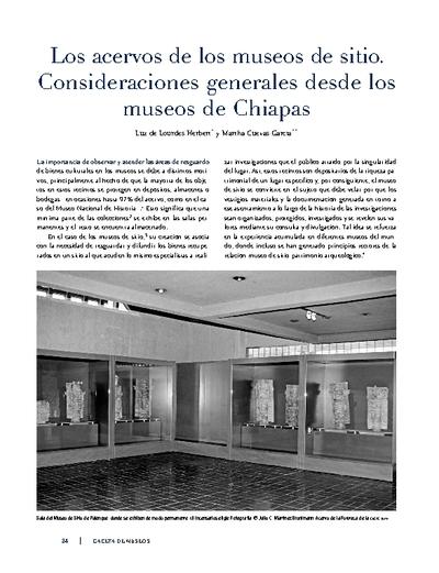 Los acervos de los museos de sitio. Consideraciones generales desde los museos de Chiapas
