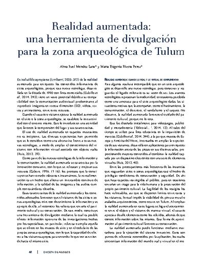 Realidad aumentada: una herramienta de divulgación para la zona arqueológica de Tulum
