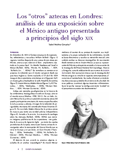 """Los """"otros"""" aztecas en Londres: análisis de una exposición sobre el México antiguo presentada a principios del siglo XIX"""