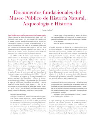 Documentos fundacionales del Museo Público de Historia Natural, Arqueología e Historia