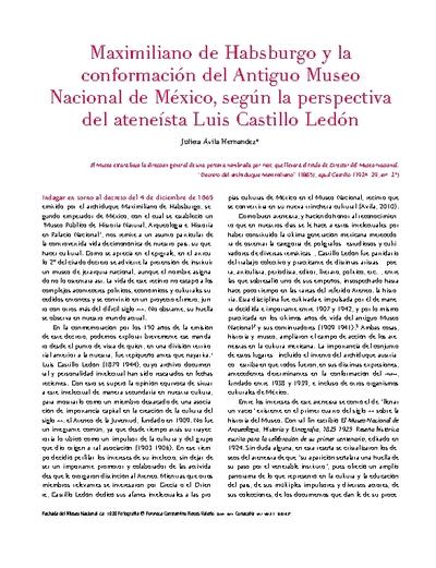 Maximiliano de Habsburgo y la conformación del Antiguo Museo Nacional de México, según la perspectiva del ateneísta Luis Castillo Ledón