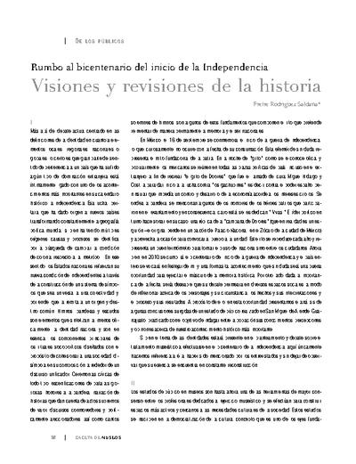 Rumbo al bicentenario del inicio de la Independencia. Visiones y revisiones de la historia