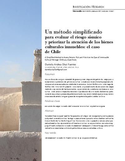 Un método simplificado para evaluar el riesgo sísmico y priorizar la atención de los bienes culturales inmuebles: el caso de Chile