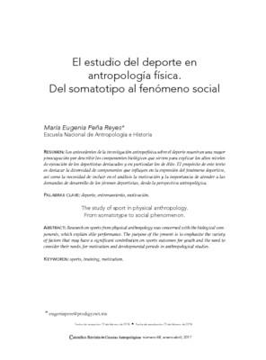 El estudio del deporte en antropología física. Del somatotipo al fenómeno social.