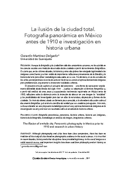 La ilusión de la ciudad total. Fotografía panorámica en México antes de 1910 e investigación en historia urbana
