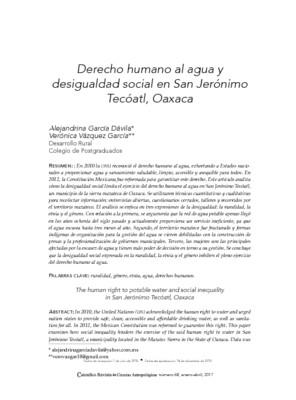 Derecho humano al agua y desigualdad social en San Jerónimo Tecóatl, Oaxaca