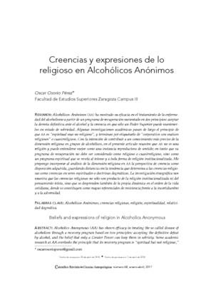 Creencias y expresiones de lo religioso en Alcohólicos Anónimos