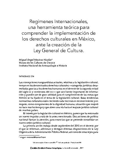 Regímenes internacionales, una herramienta teórica para comprender la implementación de los derechos culturales en México, ante la creación de la Ley General de Cultura