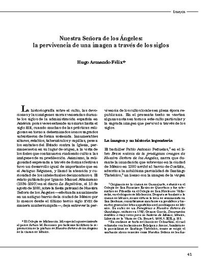 Nuestra Señora de los Ángeles: la pervivencia de una imagen a través de los siglos