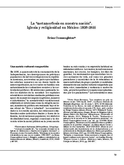 """La """"metamorfosis en nuestra nación"""". Iglesia y religiosidad en México: 1836-1855"""