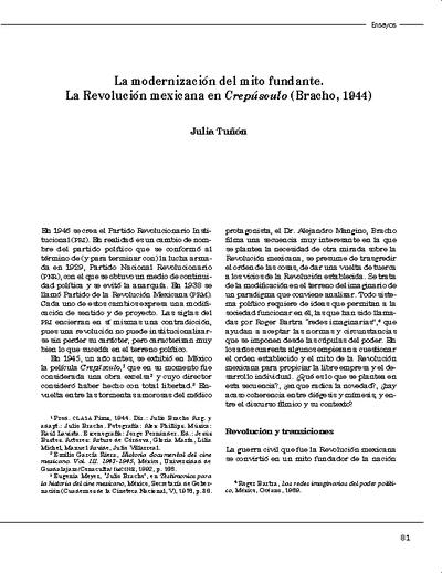 La modernización del mito fundante. La Revolución mexicana en Crepúsculo (Bracho, 1944)