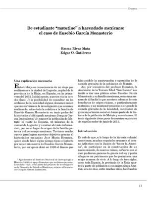 """De estudiante """"matutino"""" a hacendado mexicano: el caso de Eusebio García Monasterio"""