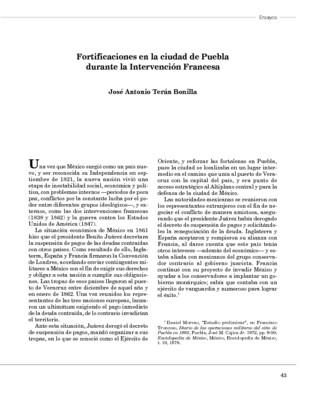 Fortificaciones en la ciudad de Puebla durante la Intervención Francesa