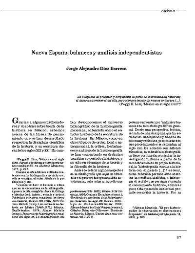 Nueva España; balances y análisis independentistas