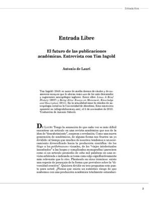 El futuro de las publicaciones académicas. Entrevista con Tim Ingold