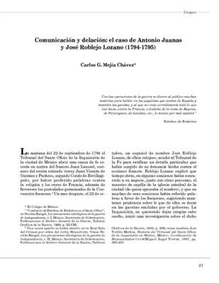 Comunicación y delación: el caso de Antonio Juanas y José Roblejo Lozano (1794-1795)