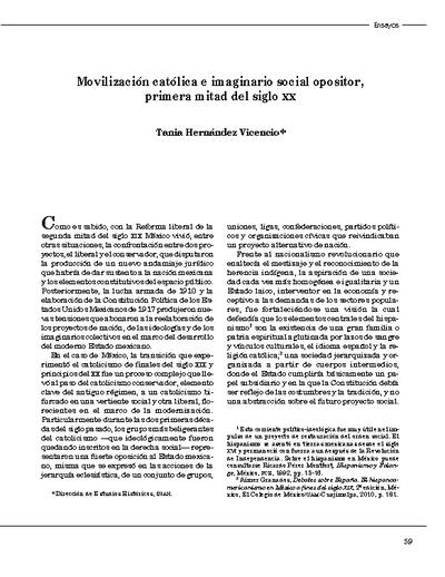 Movilización católica e imaginario social opositor, primera mitad del siglo XX