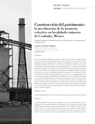 Construcción del patrimonio: la movilización de la memoria colectiva en localidades mineras de Coahuila, México