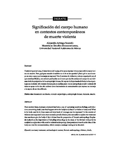 Significación del cuerpo humano en contextos contemporáneos de muerte violenta