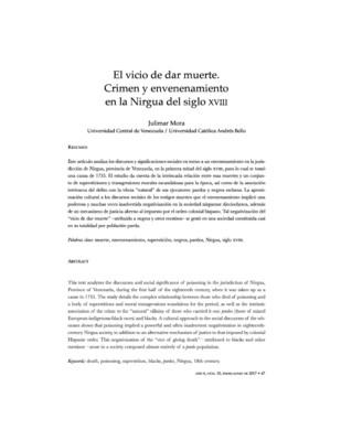 El vicio de dar muerte. Crimen y envenenamiento en la Nirgua del siglo XVIII