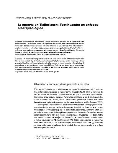 La muerte en Tlailotlacan, Teotihuacán: un enfoque bioarqueológico